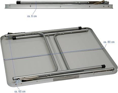 AMANKA Mesa para Acampada de Acero 3Kg 80x60x70cm Plegable port/átil como si Fuera un malet/ín para p/ícnic Camping mercadillo Gris Claro