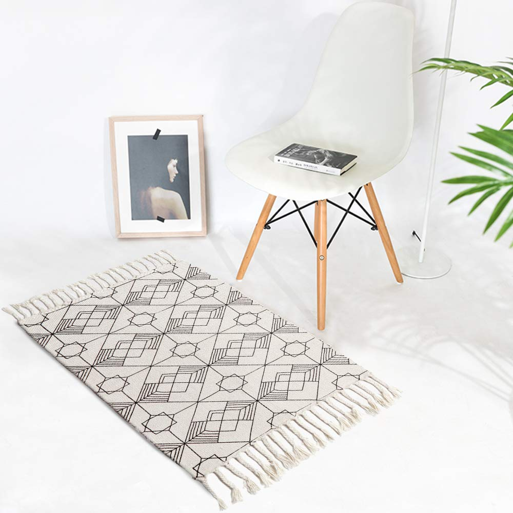 Kimode moroccan cotton area rug hand woven cream and black chic diamond print tassels throw rugs door mat indoor large area rugs for bathroombedroom