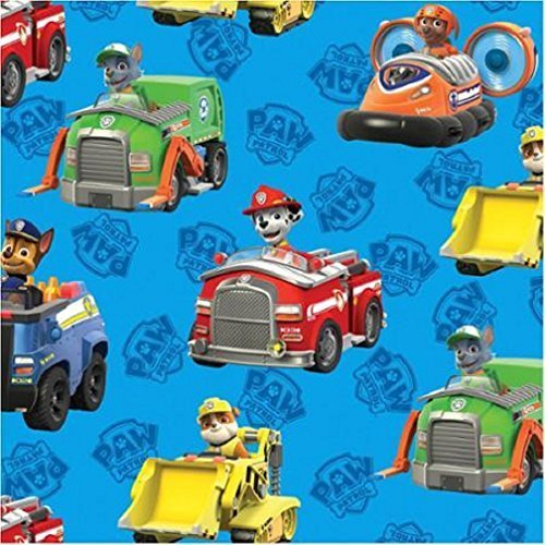 Paw Patrol COTTON Fabric By The Yard (BLUE)]()