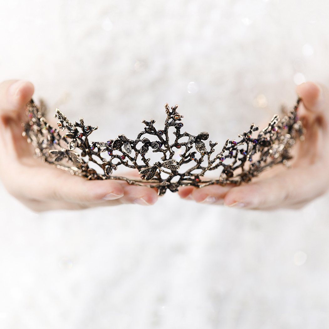 Edary Bridal Wedding Queen Crowns and Tiaras Baroque Black Flower Hair Accessories for Women by Edary (Image #3)