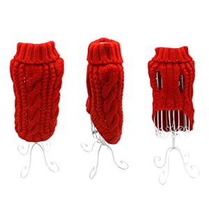 Pack of 2 Turtleneck Classic Cable Knit Dog Cat Pet Sweater Apparel Classic Red and Grey (XL) (Tamaño: XL)