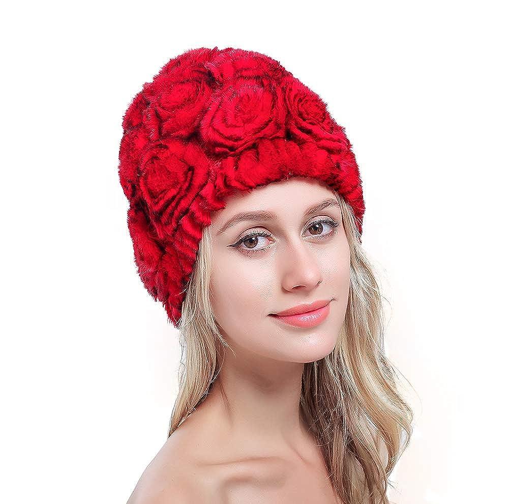 Bafei 100% Real Genuine Rex Rabbit Fur Knitted Fur Rose Hat Multi Color 5Q-202L-43XB