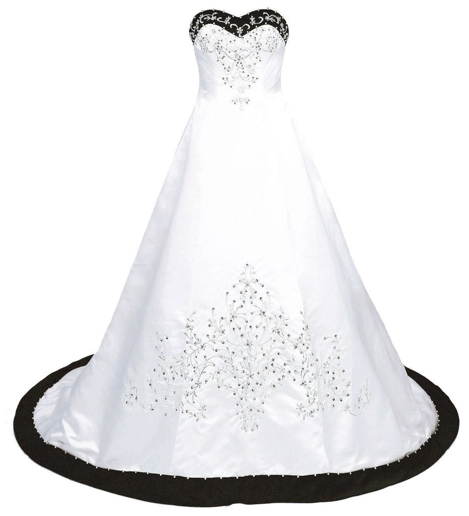 Snowskite Women's Sweetheart Embroidery Satin Beading Wedding Dress 12 White&Black by Snowskite