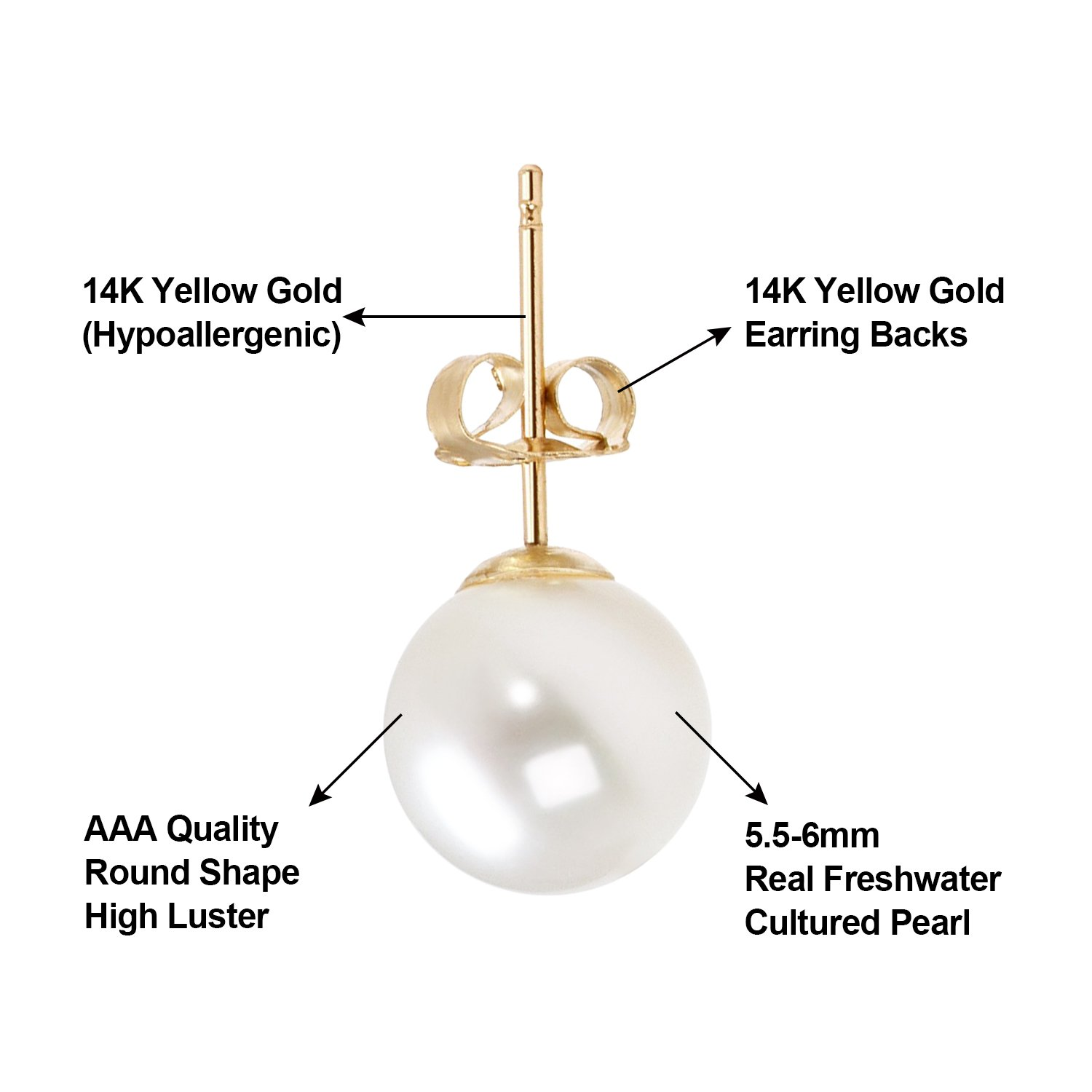 14K Gold AAA+ Handpicked Round Freshwater Cultured White Pearl Stud Earrings for Women Girls (yellow-gold, 5.5-6mm) by JORA (Image #4)