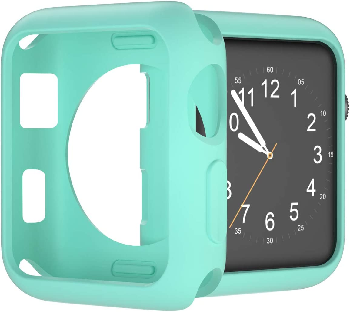 U191U Compatible with Apple Watch Case 38mm 42mm 40mm 44mm, Soft TPU Shockproof and Shatter-Resistant Protective Bumper Cover iwatch Series 5 4 3 2 Case (Mint Green, 38mm Series 2/3)