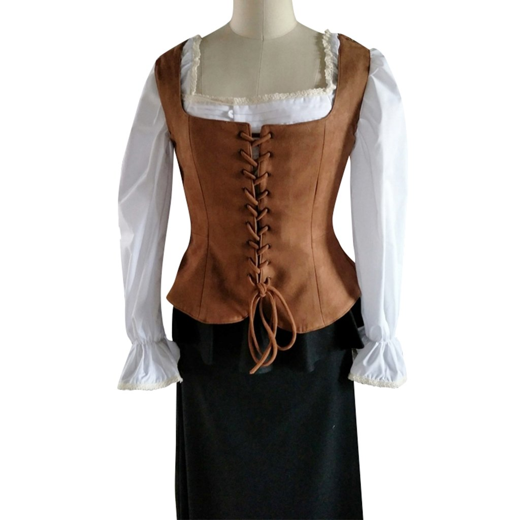 Lady Pirate Brown Faux Suede Fabric Lace-Up Bodice Costume Vest - DeluxeAdultCostumes.com