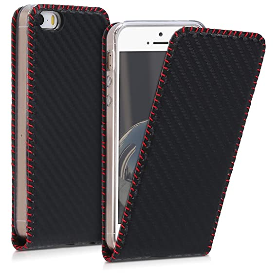 cheap for discount af0c0 115dd kwmobile Vertical Flip Case for Apple iPhone SE / 5 / 5S - PU Leather  Protective Flip Cover with Magnet - Black/Red