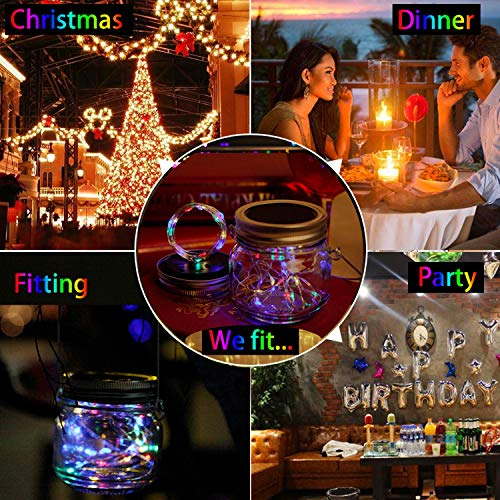 KZOBYD 8 Pack Solar Mason Jar Lid String Lights with 8 Handles,Fairy Starry Firefly Lights Kit Hanging for Outdoor Indoor Patio Wedding Decor(Jars Not Included)(8, Colorful 10LED) by KZOBYD (Image #1)