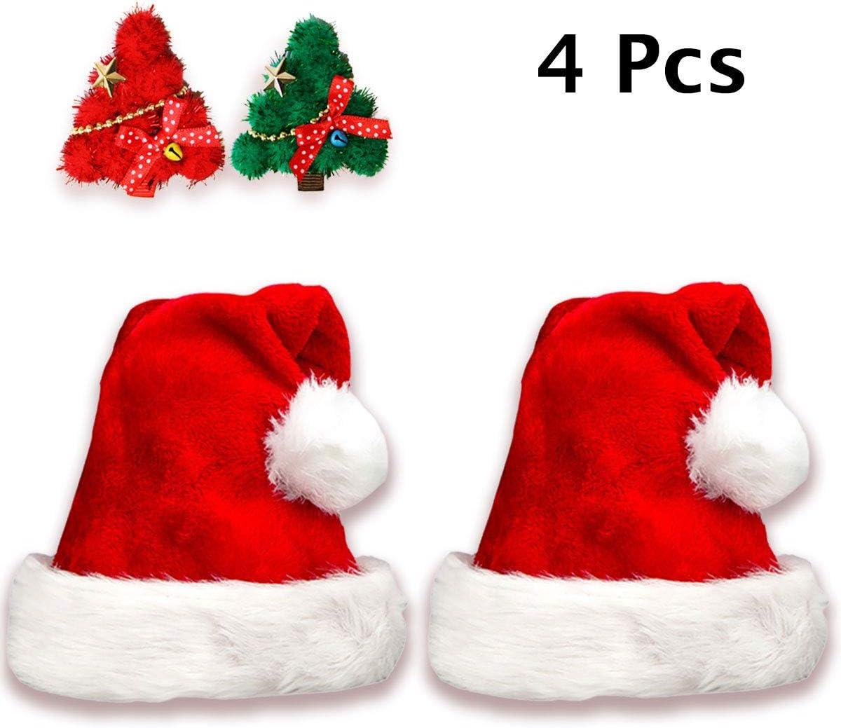 Jonami 2 Gorros de Papa Noel + 2 Pinzas de Pelo, Gorro Navideño y Sombreros de Santa Claus Tradicionales Rojos y Blanco + 2 Clips de Pelo. Accesorios de Navidad para Regalos