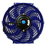 UPGR8 U8801-1203 Universal High Performance 12V Slim Electric Cooling Radiator Fan with Fan Mounting Kit, 12-Inch, Blue