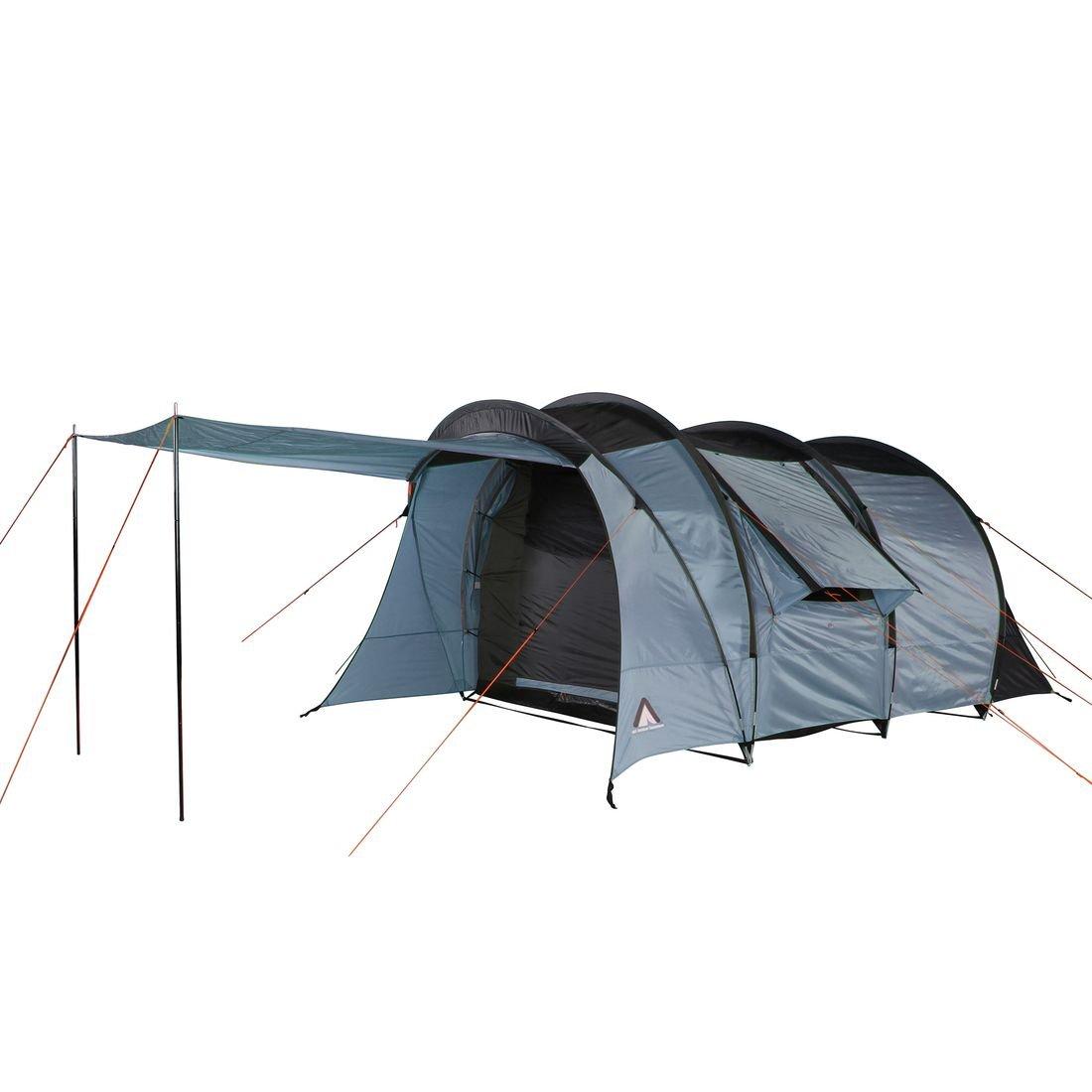 10T Oslo 5 - 5 Personen Tunnelzelt, Campingzelt mit riesiger 11,4 m² XXL Schlafkabine, wasserdichtes Familienzelt mit 5000mm, Zelt mit großem Eingang und 2 Fenstern, Festivalzelt mit Vordach und 200 cm Stehhöhe, 5 Mann Zelt mit Tragetasche