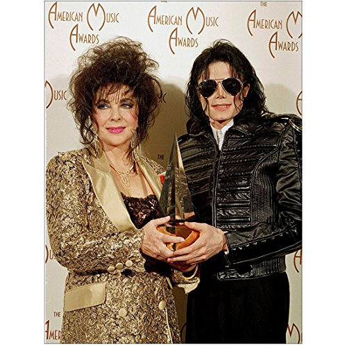 Michael Jackson 8 inch x 10 inch PHOTOGRAPH Singer Thriller in Black Leather Jacket & Sunglasses w/Elizabeth Taylor Sharing Award - Sunglasses Elizabeth