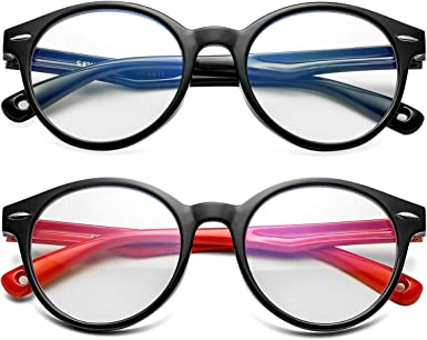 for Children Age 3-12 Kids Blue Light Blocking Glasses Silicone Flexible Round Eyeglasses Frame with Glasses Rope