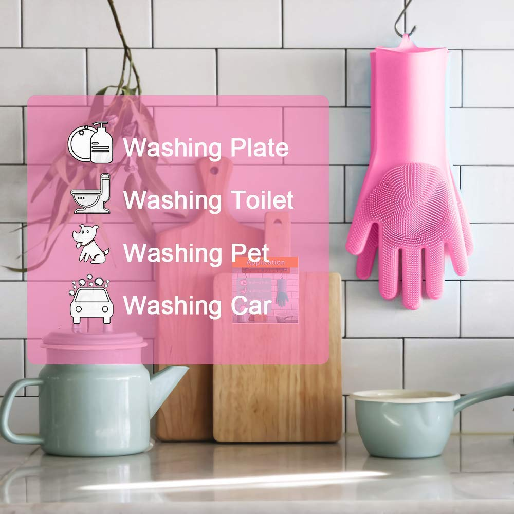 Scrubber Cleaning Gloves for Kitchen Latex Free Pink, 1 Pair Bathroom and Pet Ecolive Magic Saksak Silicone Dishwashing Gloves