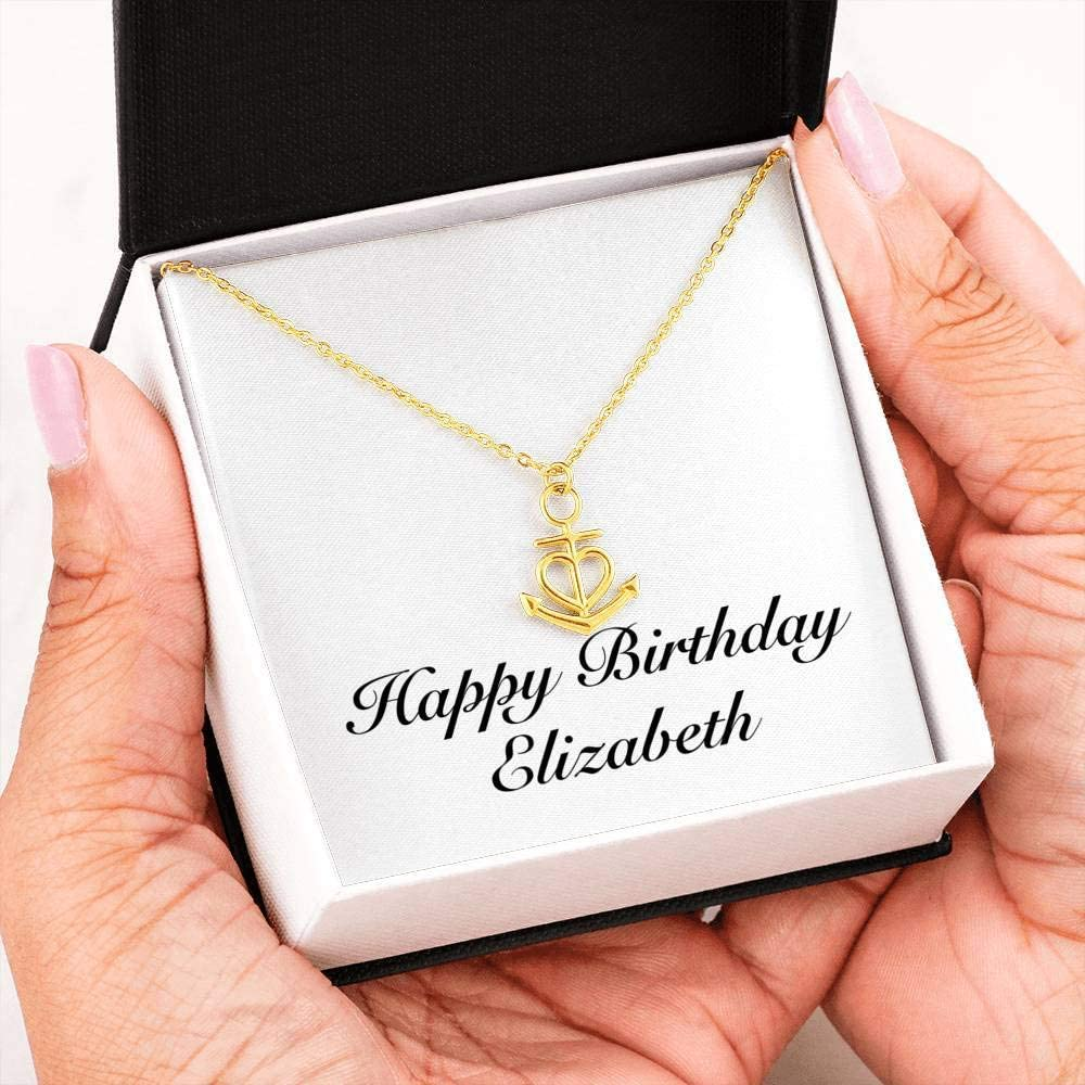 Unique Gifts Store Happy Birthday Elizabeth Friendship Anchor Necklace 18k Yellow Gold Finish Personalized Name