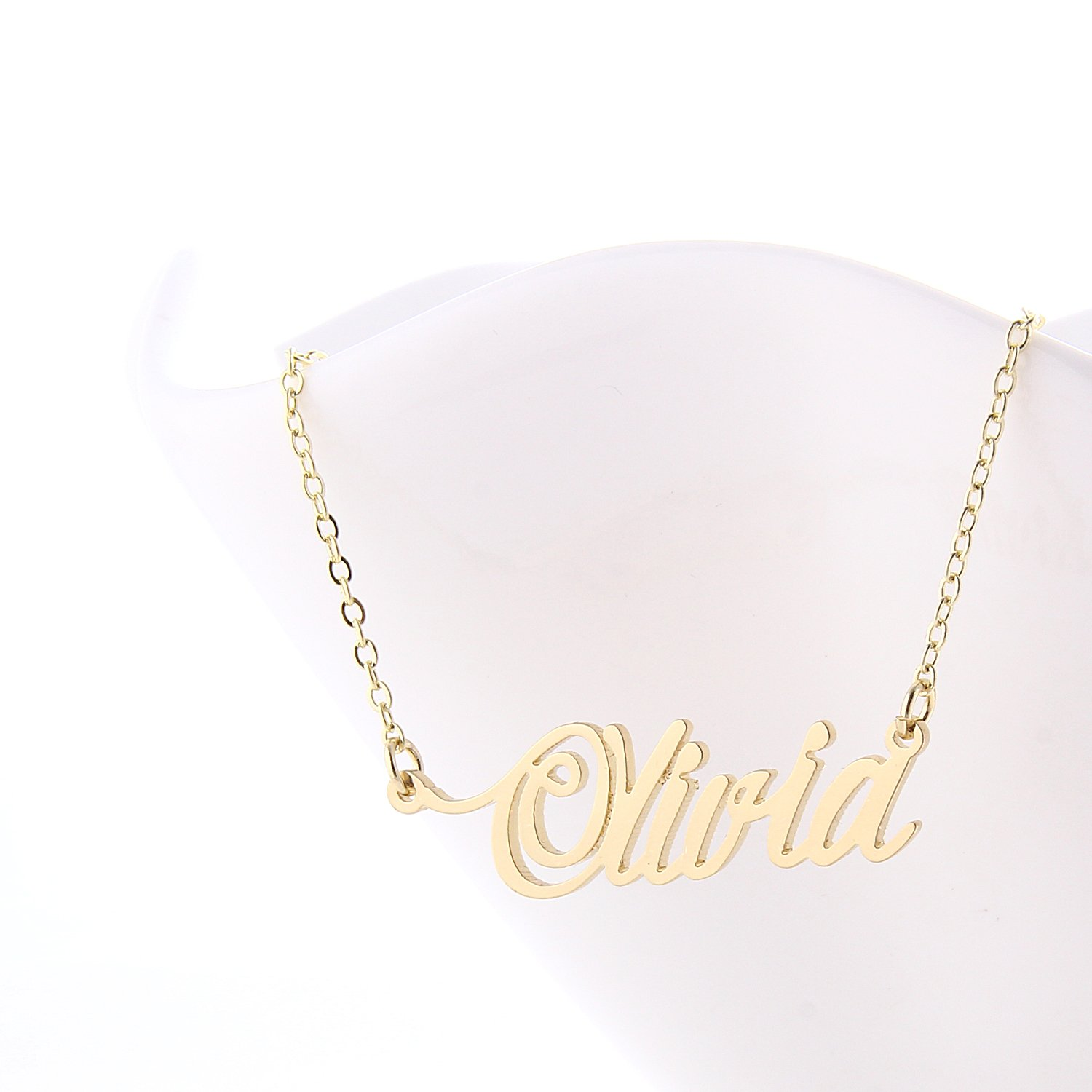 free name products on thin cursive plate silver style jewelry personalized necklace online