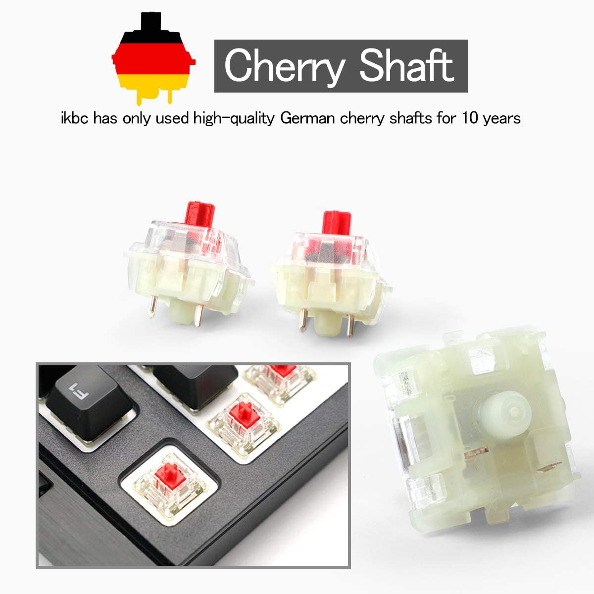 Wholesales Authentic RGB Cherry Switch Cherry Mx Switches Keycap Keyswitches Keymodule ??Mechanical Keyboard Switches Replacement 50 pcs, Black 3 pin
