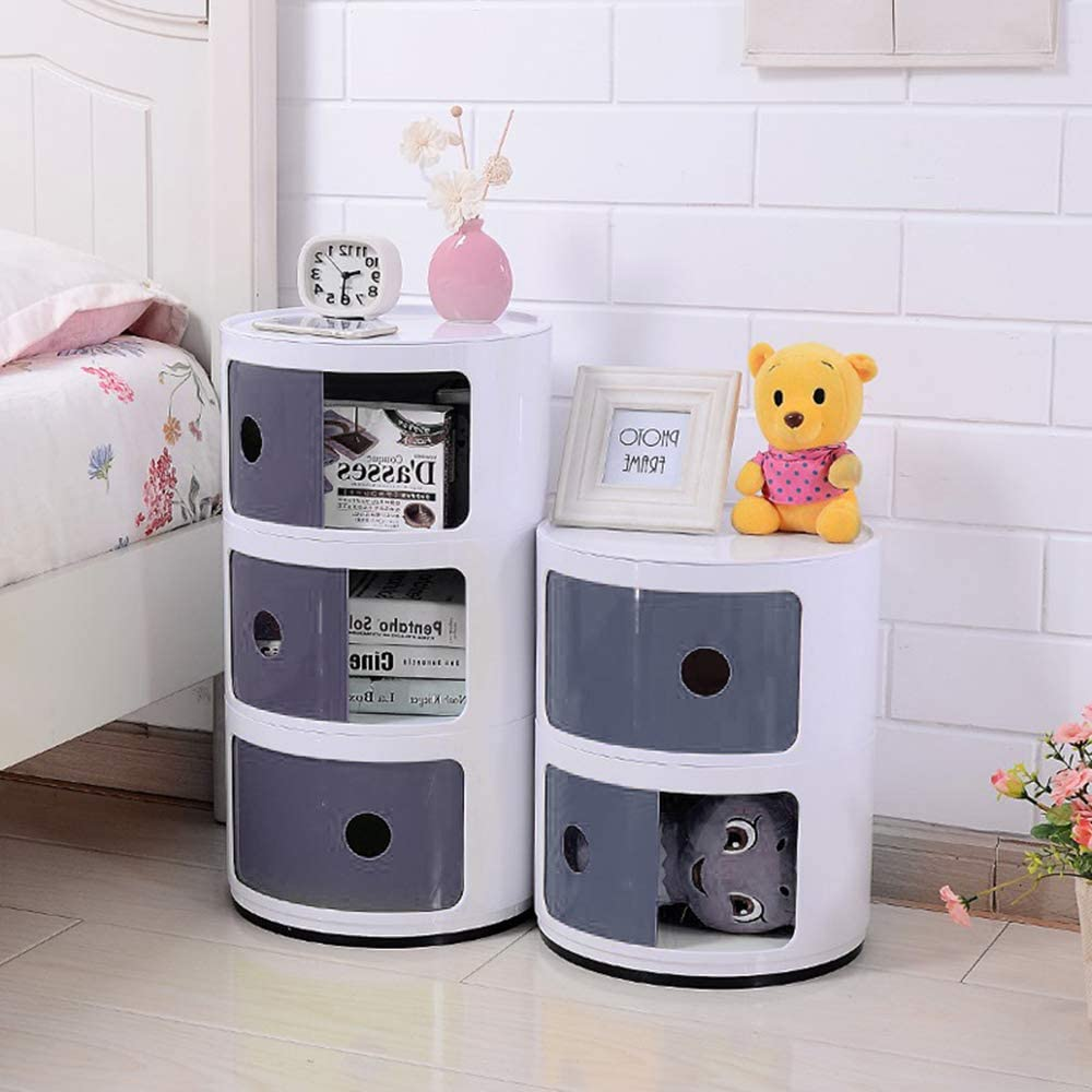 INMOZATA Round Storage Unit Plastic Cabinet Bedside Unit Drawers End Side Coffee Table for Home Hallway Bathroom Bedroom 3 Tier, Grey