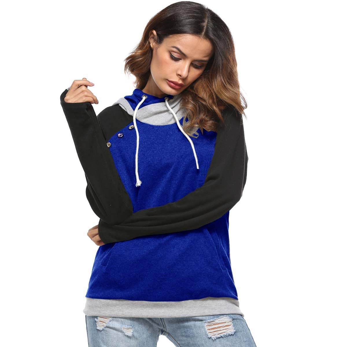 Crazycatz Womens Color Blocking Sweatshirts Sports Pullover Tops Hoodies with Pockets Blue, M
