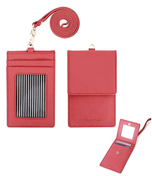 Genuine Leather Card Holder   Mirror Id Card Case Useful Purse with Neck  Strap Wallet (Indi Pink) at Amazon Women s Clothing store  6e56f2f94
