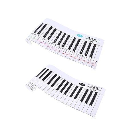 Baoblaze 2 Piezas Piano Pegatina 88 Teclado Práctica de Papel Piezas para Insturmento Musical para Niños