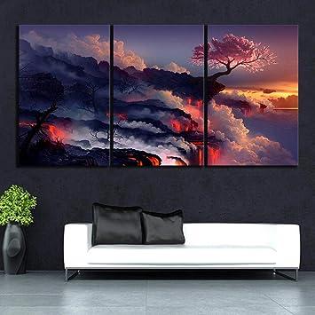 Amazon Com Woplmh 3 Piece Canvas Art Scorched Earth Lava