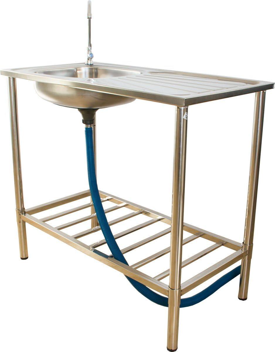 Multifunción, fregadero de jardín de acero inoxidable, lavabo para cocina al aire libre y camping, lavado de jardín