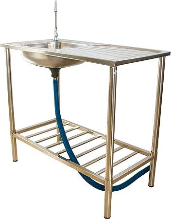 Multifunción, fregadero de jardín de acero inoxidable, lavabo para cocina al aire libre y camping, lavado de jardín: Amazon.es: Bricolaje y herramientas