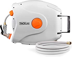 TACKLIFE 5/8'' Retractable Hose Reel,82+8 FT Hose, Wall Mounted Retractable Hose Reel, 8 Patterns Hose Nozzle/Brass Connector/Any Length Lock/Auto Rewind/180 Degree Pivot,Garden Watering, Car Washing