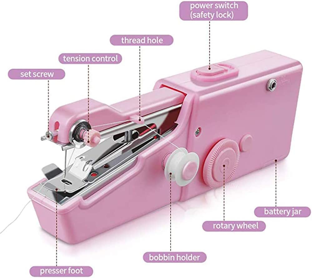 Mini Sewing Machine Handheld Sewing Machine Electric Portable Hand Stitch Clothes Quick Repairing for Cloth Curtain DIY Household and Travel Use