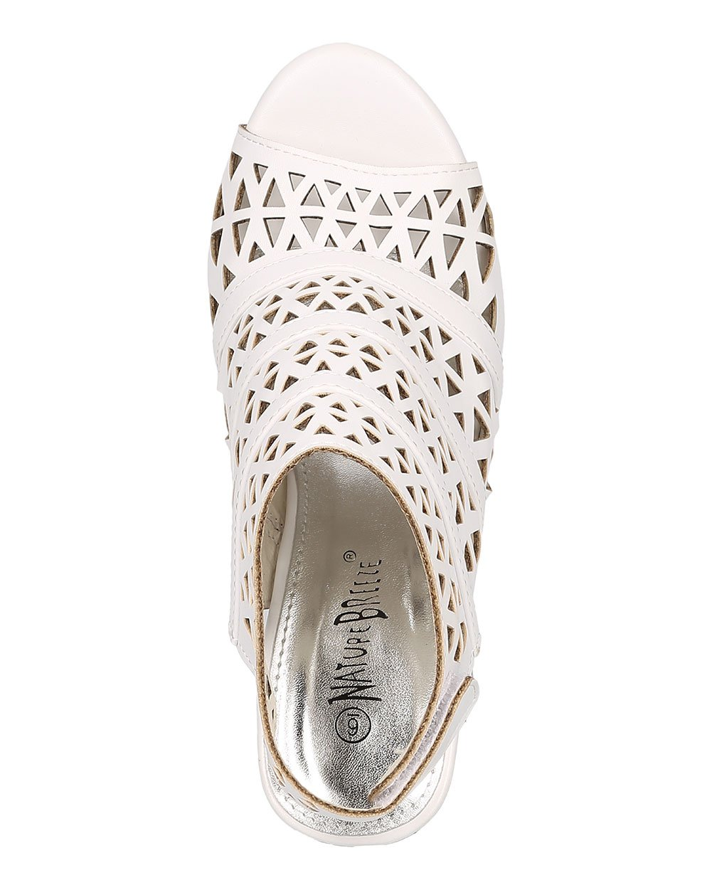 Women Leatherette Peep Toe Perforated Chunky Heel Slingback Mule GG78 - White (Size: 6.5) by Nature Breeze (Image #4)