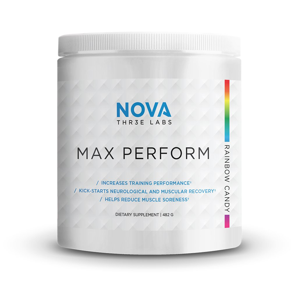 NOVA Three Labs | Max Perform | Powdered Preworkout Formula Designed to Maximize Performance and Reduce Fatigue During Training. (Rainbow Candy)