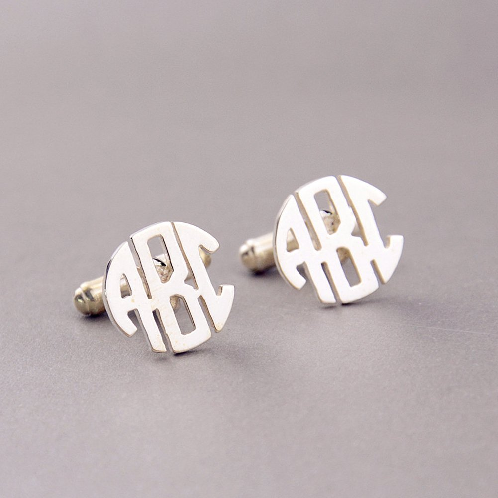 Ouslier 925 Sterling Silver Personalized Men Wedding Pairs Cuff Links Custom Made with Any Initials