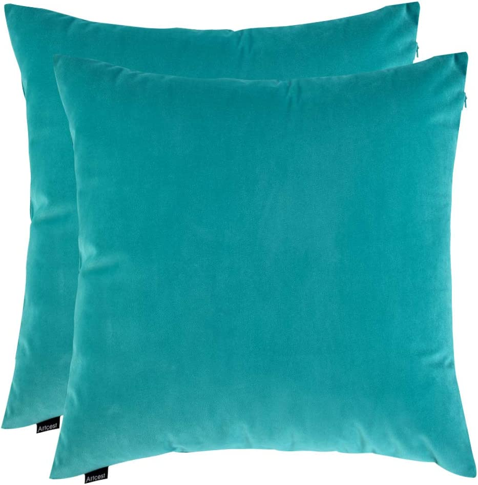 """Artcest Set of 2, Cozy Solid Velvet Throw Pillow Case Decorative Couch Cushion Cover Soft Sofa Euro Sham with Zipper Hidden, 18""""x18"""" (Light Teal)"""