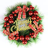 iShine Wreath Decorated Christmas Elegant Designer Decorated Christmas Wreath Scarlet Hydrangea Decorations Mixed Pine PVC Approved for Covered Outdoor Use