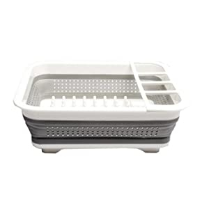 Purposefull - Collapsible Silicone Dish Drainer - White Portable Dish Rack - Counter Dish or Utensil Dryer Drainer