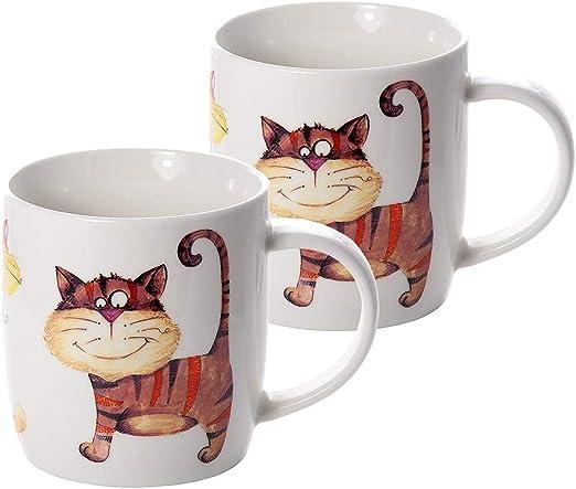 Juego de 2 Tazas Porcelana Grandes Cafe Desayuno Originales de café té, Color Beige con Decoración de Gatos apto para lavavajillas y microondas, Regalo para los Amantes de los Animales de Gato: