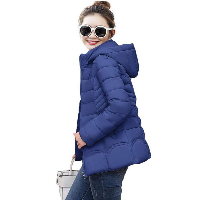 Short Dark bluee Ladies Fashion Coat Winter Jacket Women Outerwear Warm Wadded Jacket Padded Parka