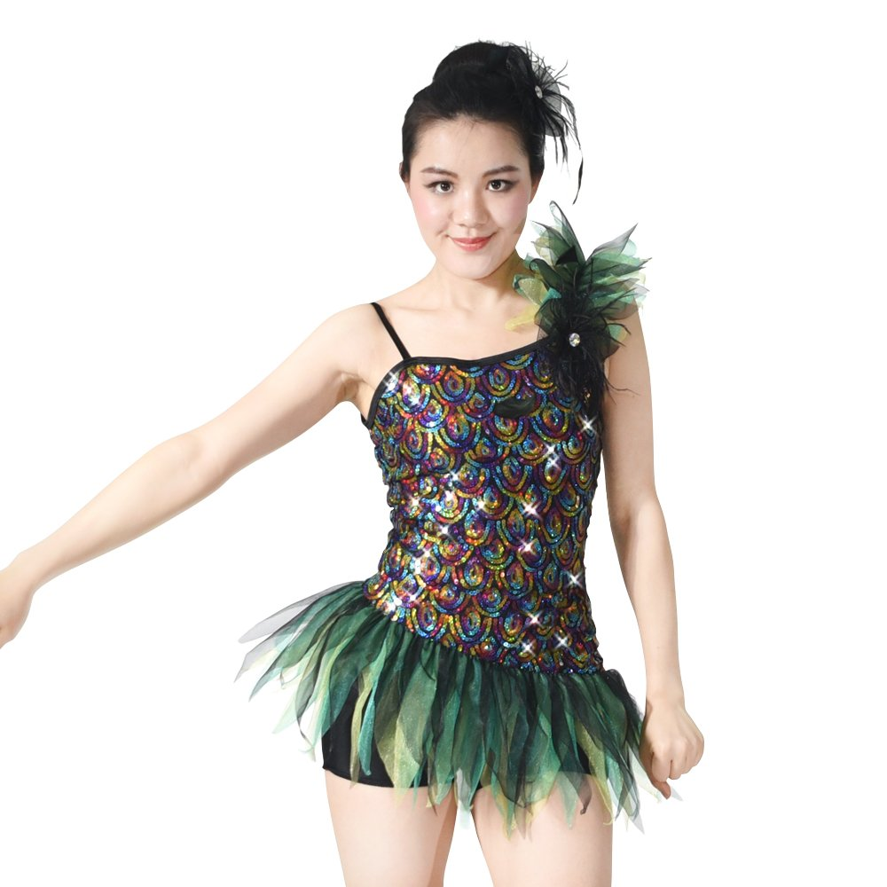 MiDee Pavonine Sequin Camisole Biketard Dance Costume Jazz Clothing (XSC, Multi Color) by MiDee