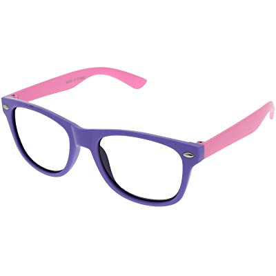 Kids Nerd Retro Two Color Frame Clear Lens Childrens Fake Eye Glasses (Age 3-10) Purple/Pink: Clothing