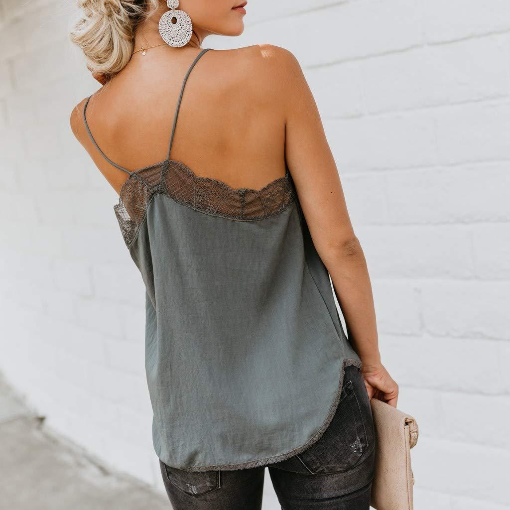 Cewtolkar Women Tank Top Lace Vest Stitching Camisole Sleepwear Sleeveless Blouse Casual Tees Comfortable Tunic Navy by Cewtolkar (Image #2)
