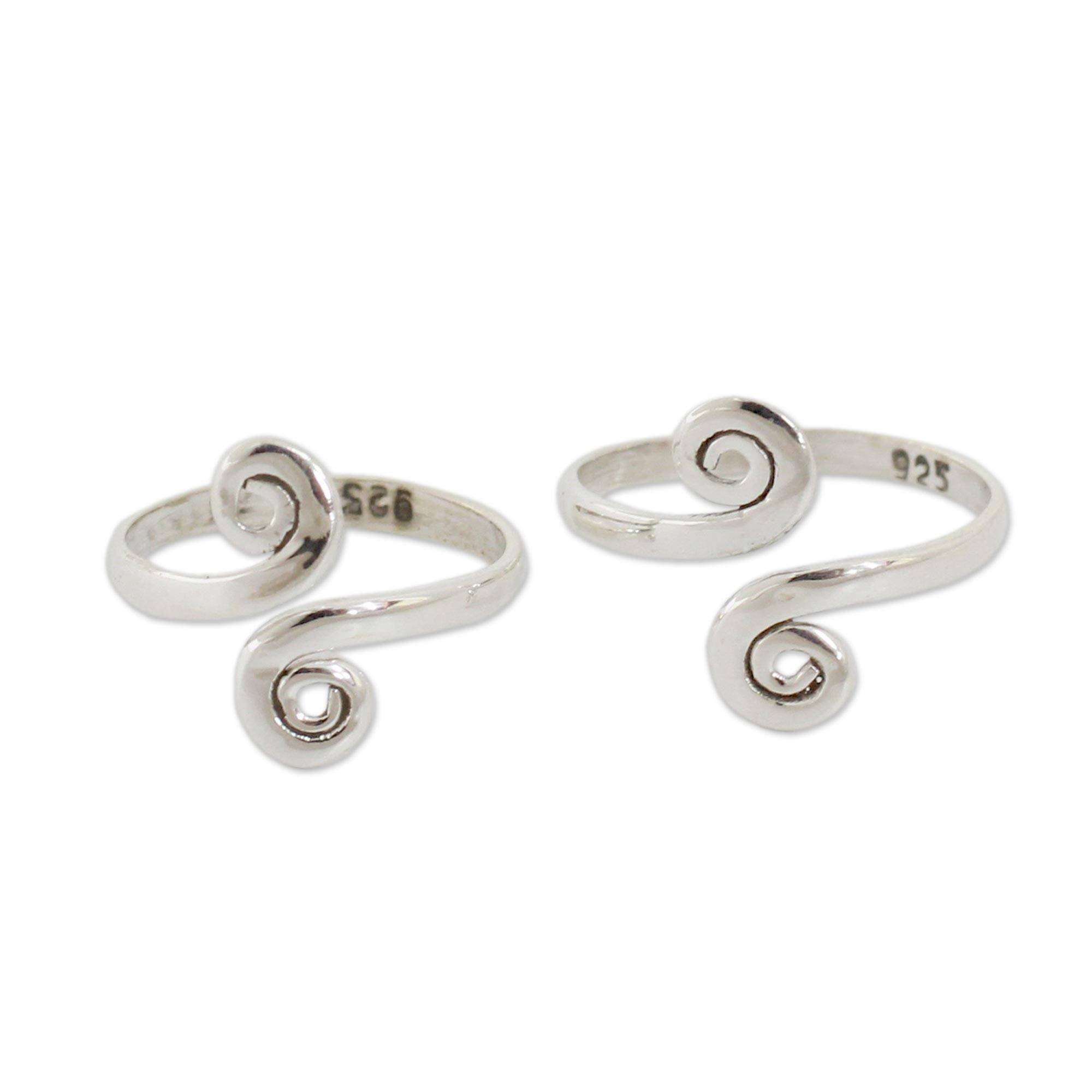 NOVICA Polished .925 Sterling Silver Spiral Adjustable Toe Rings 'Luminosity' (Pair, One Size) by NOVICA