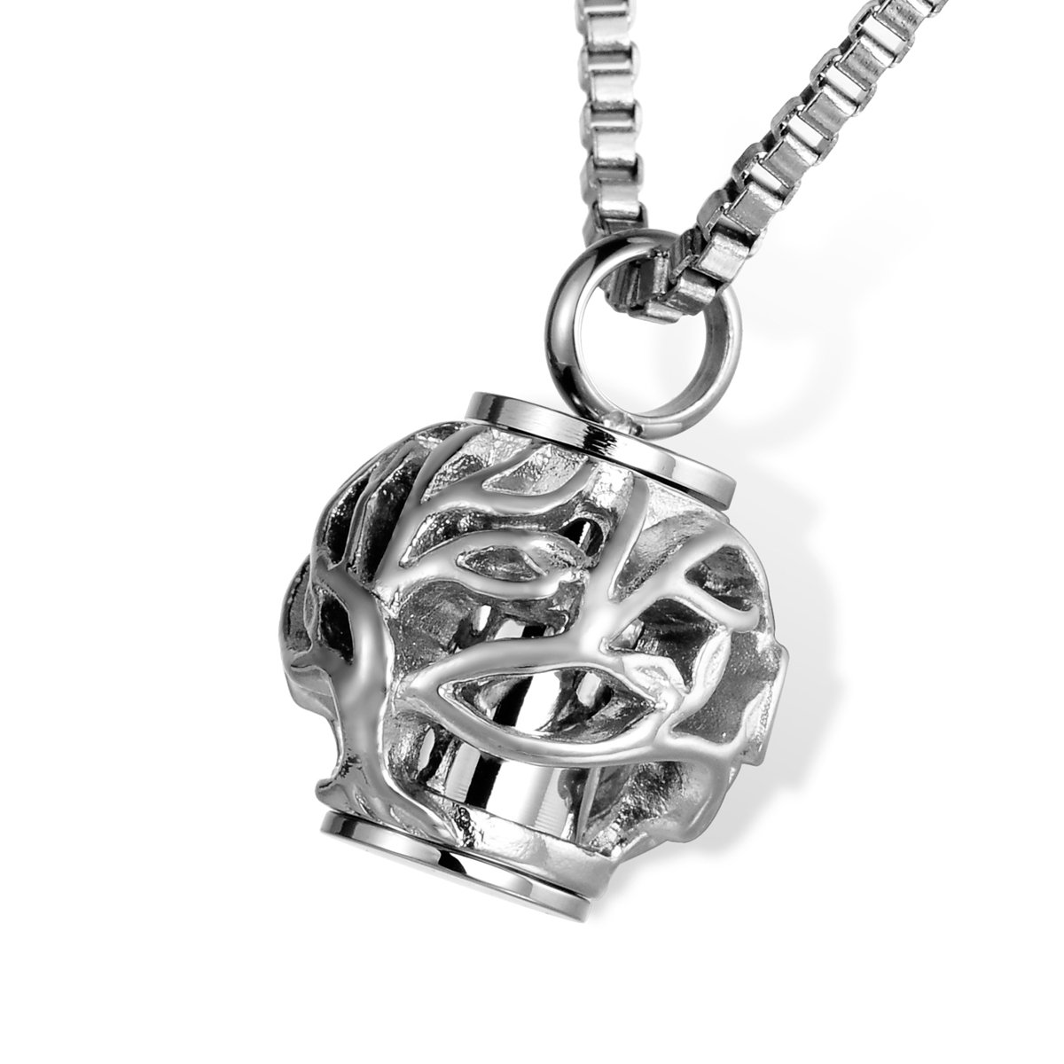 HOUSWEETY Cremation Jewelry Hollow Heart Tree of life Bead Urn Pendant Necklace Memorial Ashes Keepsake HOUSWEETYKLB103418