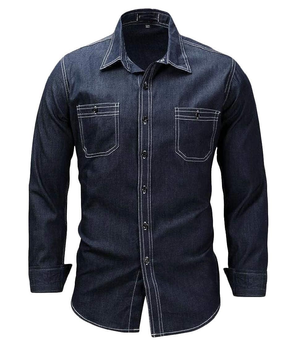 Joe Wenko Mens Pocket Loose Lapel Neck Long Sleeve Curved Hem Denim Button Down Shirts