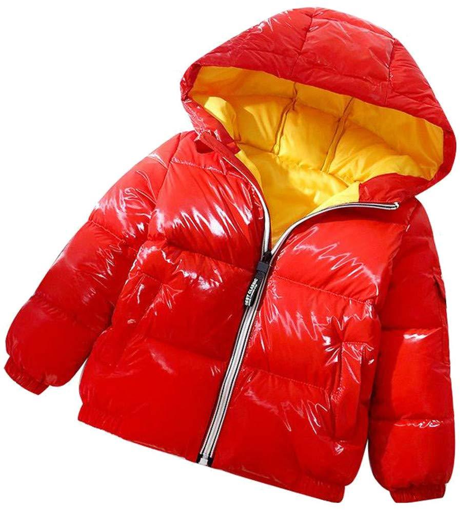 XiaoTianXinChildrenscostumes XTX Boy Down Zip Padded Metallic Hooded Pocket Winter Jacket Parka Coat Red 9T