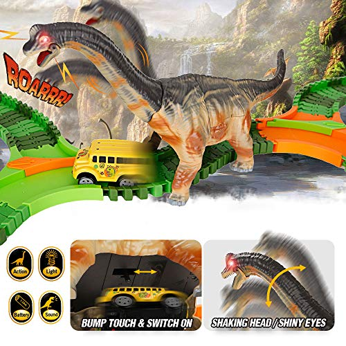 URTOYPIA Dinosaur Toys Race Car Track, 201Pcs Flexible Race Track Set with Moving Head and Sound Din - http://coolthings.us