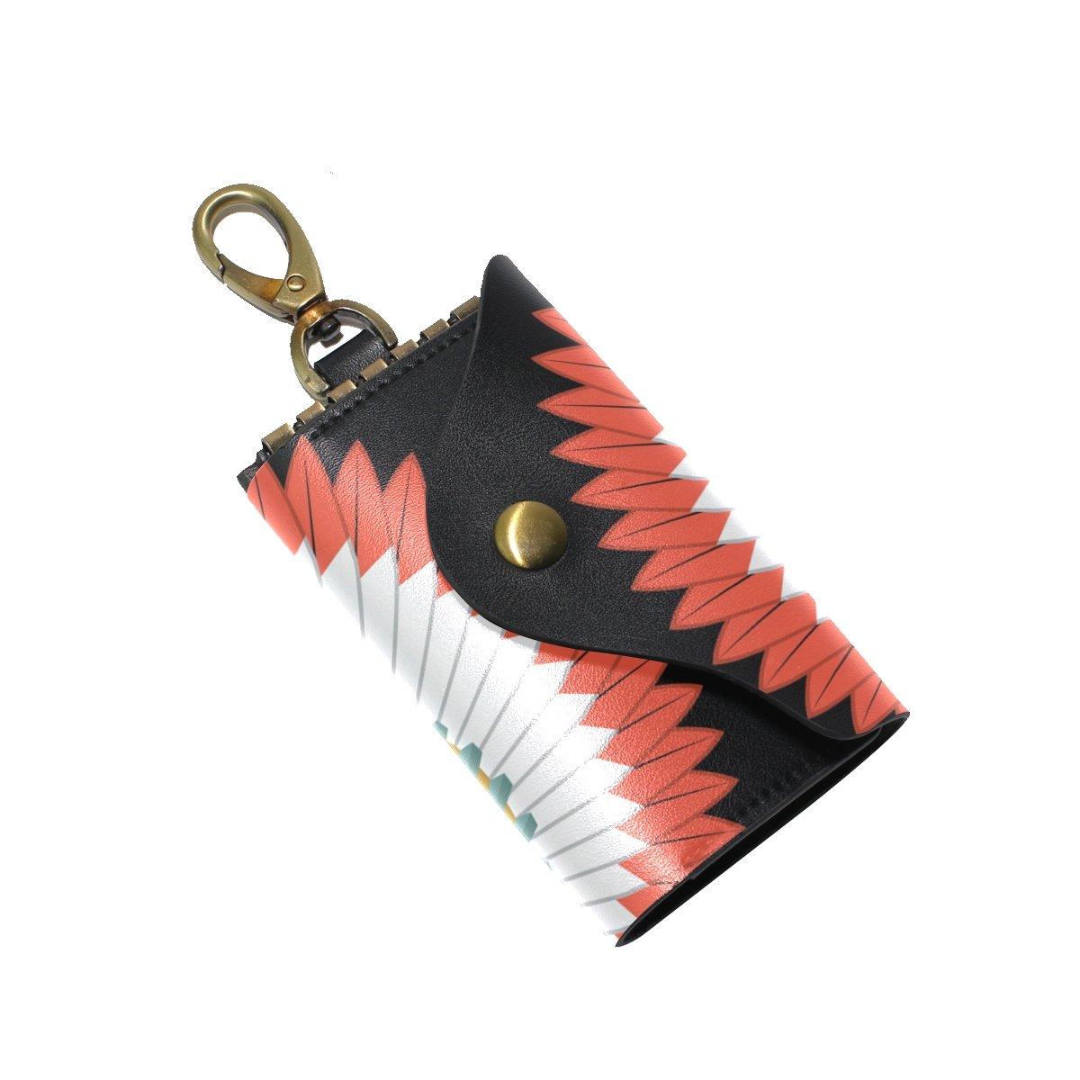 DEYYA American Indian Skull Headdress Leather Key Case Wallets Unisex Keychain Key Holder with 6 Hooks Snap Closure