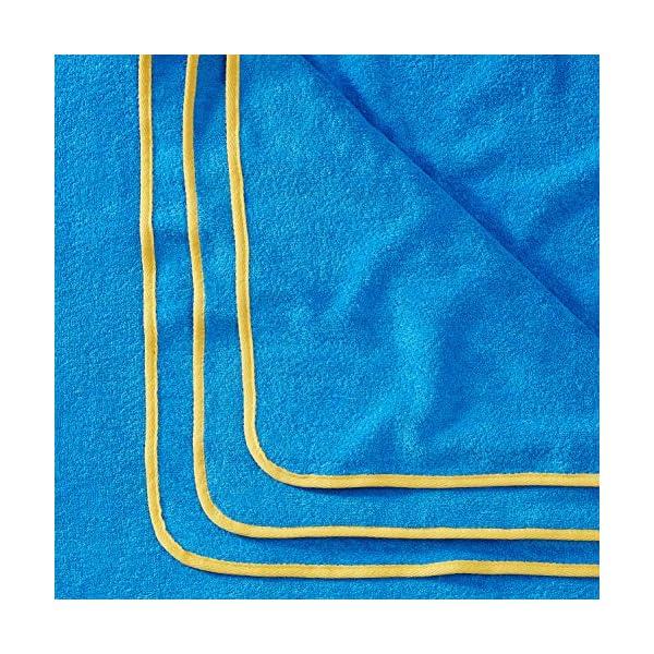 Sowel® Telo Mare Grande, 100% Cotone Organico GOTS, 160 x 200 cm, Asciugamano Mare, Fouta, Blu/Giallo 2 spesavip