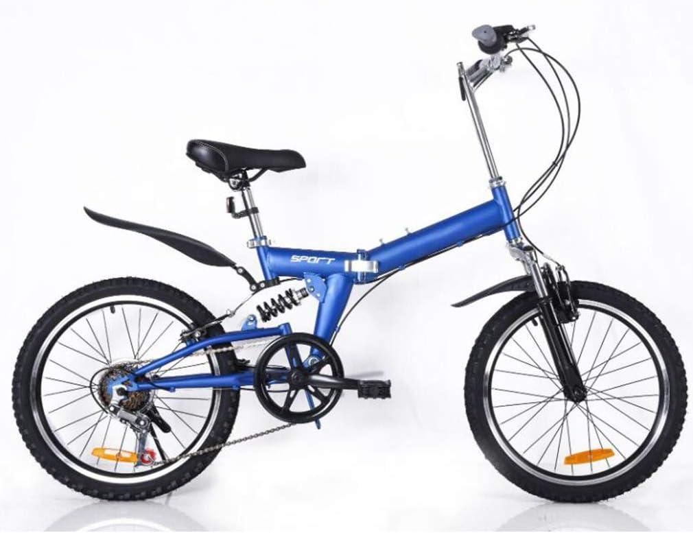 B-D Bicicletas Plegables De 20 Pulgadas para Mujer, Marco De Acero De Alto Carbono, Doble Suspensión Ligera Bicicleta Plegable Urbana para Estudiante Unisex, 5 Opciones De Color