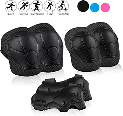 Kids Protect Gear Knee Pads Elbow Pads 6In1 Set With Wrist Guard Adjustable Pads